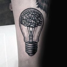 Brain Light Bulb Guys Forearm Tattoo With Dotwork Design