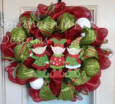 red green Christmas decor | Christmas Wreath, Elves Wreath, Holiday Wreath, Christmas, Deco Mesh ...