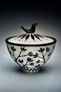 Bird Knob Jar; porcelain and red underglaze, 6.5x6x6 in. $125.