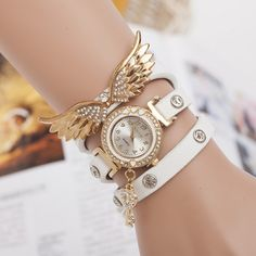 Wing Shape #watch, 3-strand & with #rhinestone, more colors for choice.