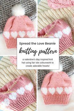 Easy Beginner-Friendly Knitting Pattern For A Fair-Isle Knit Hat With , einfaches anfängerfreundliches strickmuster für eine fair-isle-strickmütze mit , modèle de tricot facile à utiliser pour les débutants pour un bonnet en tricot fair-isle avec Fair Isle Knitting Patterns, Loom Patterns, Knitting Stitches, Baby Patterns, Knitting Ideas, Simple Knitting, Free Knitted Hat Patterns, Circular Knitting Patterns, Crochet Motifs