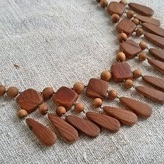Vintage wooden juniper necklace Retro beads necklace Statement