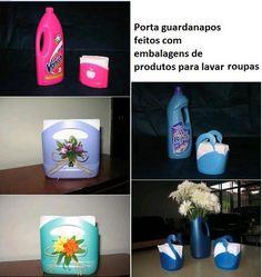 Porta guardanapos feitos de embalagens de detergente.  Veja mais em http://www.comofazer.org