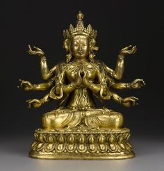 A gilt copper alloy figure of Marichi, Qing dynasty, Eighteenth Century, 13 inches, sold at  $254,500 at Bonhams.