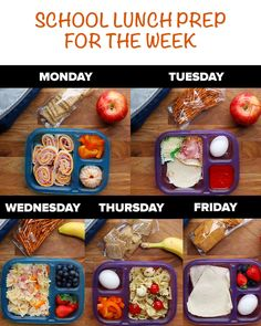 Kids Meals Easy School Lunch Prep for the week (these ideas would be good for adults too, not just kids) - You'll thank yourself by Friday. School Lunch Prep, Healthy School Lunches, Lunch Meal Prep, School Meal, Lunch Ideas For School, School Lunch Recipes, School Snacks, Kids Lunch Box Ideas Schools, Packed Lunch Ideas For Kids