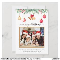 Modern Merry Christmas Family Photo Simple Holiday Card Merry Christmas Family, Tartan Christmas, Christmas Photo Cards, Christmas Photos, Christmas Greetings, Holiday Cards, Love Messages, Modern Rustic, Family Photos