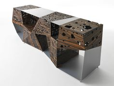 ALUMINIUM AND WOOD STORAGE UNIT RIDDLED BUFFET RIDDLED COLLECTION BY HORM.IT | DESIGN STEVEN HOLL