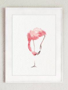 Rosa Flamingo-Set 3 Kunstdrucke Flamingos von ColorWatercolor Flamingo Painting, Flamingo Art, Feather Painting, Pink Flamingos, Abstract Watercolor, Watercolor Paintings, Watercolor Paper, Pink Abstract, Painting Abstract