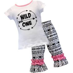 """Super Cute Girls """"Wild One"""" Boutique Style Outfit This white top features the text """"Wild One"""" surrounded by arrows and has matching black and white aztec bottoms.  This outfit is sure to turn heads! This in style outfit is also excellent quality! This is a must for your little one's closet! This outfit is super stylish, and comfy for everyday wear! Wild One Boutique Outfit"""