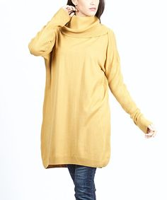 Another great find on #zulily! Mustard Cowl Neck Sweater Tunic - Women #zulilyfinds