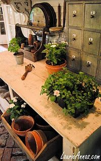 Would love this for workspace and to display vintage garden stuff. . .