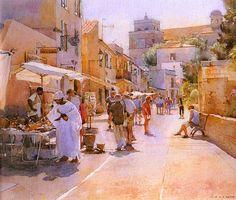 Watercolor Artists, Watercolor Landscape, Landscape Art, Watercolor Paintings, David Curtis, Art Watch, Z Arts, Art Impressions, Urban Sketching