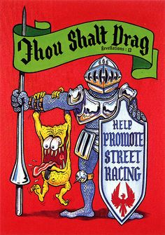 More great garage art from Vintage Reproduction Racing Posters. Thou Shalt Drag. Measures 14 x Printed on coated card stock. Ships well packed in a sturdy stay flat envelope. I do combine shipping. Please ask any questions before buying. Car Drawings, Cartoon Drawings, Cartoon Art, Ed Roth Art, Monster Car, Rat Fink, Garage Art, Street Racing, Motorcycle Art