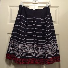 Talbots skirt -Navy, red, white Knee length or just below knee if you are short Talbots Skirts A-Line or Full