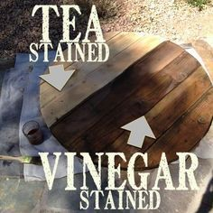 How to aged new wood to look like old barn wood using tea and vinegar. I loving using this technique for farmhouse style projects. The table top above was done several years and the top still looks great! Stays outside in all weather. | Country Design Style | http://countrydesignstyle.com