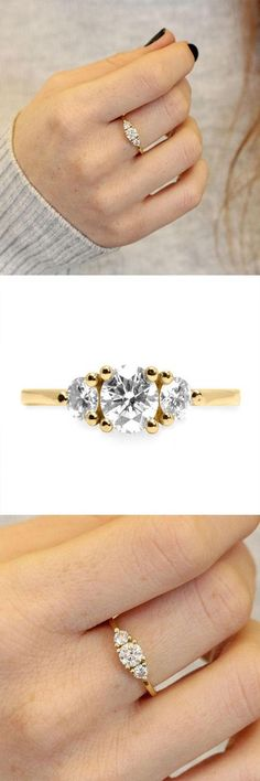 THREE STONE ENGAGEMENT RING 1CT DIAMOND GOLD HANDMADE MOISSANITE VINTAGE UNIQUE ENGAGEMENT CLASSIC 1 - affiliate