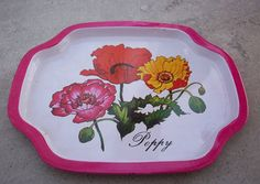Hot Pink and Poppies Tin Snack Tray   Small Tin by nenafayesattic, $5.00