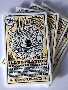 "Business Card inspired by the style of magician posters produced during the 1930's for Dane Holmquist, an illustrator, painter, graphic designer and ""overall Art Magician.""The card goes hand in hand with his resume and wicked mustache, which you can view by visiting dholmquistdesigns.com.  Designed by: Dane Holmquist http://dholmquistdesigns.com/"