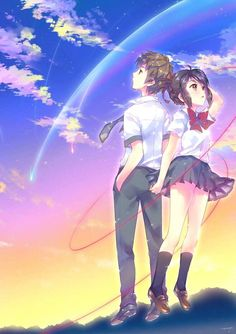 Costume Anime Love is a vine that grows into our hearts.Tachibana Taki and Miyamizu Mitsuha from your name anime Fanarts Anime, Anime Films, Manga Anime, Anime Art, Kimi No Na Wa, Me Me Me Anime, Anime Love, Couple Look, Mitsuha And Taki