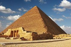 Great Pyramid of Khufu. built circa 2551 B.C. for Pharoah Khufu, is known simply as the Great Pyramid---and with more than 2 million stone blocks forming a geometric pyramid 450 feet high.  Read more: http://www.smithsonianmag.com Follow us: @SmithsonianMag on Twitter