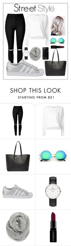 """#street_style_pro"" by aitouazizmeriem ❤ liked on Polyvore featuring Alexander Wang, Yves Saint Laurent, adidas Originals, Daniel Wellington, Halogen, Smashbox, women's clothing, women, female and woman"
