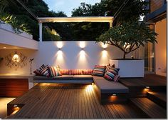 Deck, benches, lighting, outdoor