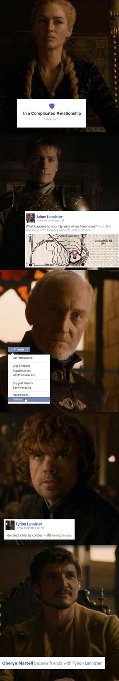 Tyrion's Trial as Told By Facebook - Game of Thrones