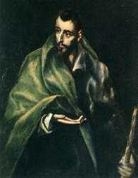 Museo de El Greco, Toledo : Jacques le Majeur était le fils de Zébédée et de Marie Salomé. Frère de Saint-Jean l'évangéliste, l'un des premiers à répondre à l'appel du Christ. Jacques se serait vu confier la lourde tâche de convertir les peuplades Celtibères (la future Espagne). De retour en Palestine, Jacques obtient de nombreuses conversions dont l'une des plus célèbres n'est autre que celle du magicien Hermogène.