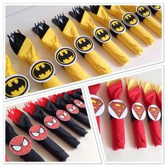 Super Hero Birthday Party Cutlery, wrapped utensils, party supplies, spiderman, superman, batman, hulk, wonder woman