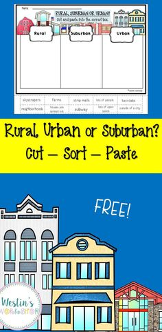 FREE cut, paste and sort activity! Great to add to any unit about communities as part of a lesson or a center. Social Studies Communities, Types Of Communities, Communities Unit, Teaching Social Studies, Sorting Activities, Classroom Activities, Classroom Ideas, Teaching Critical Thinking, Fun Learning