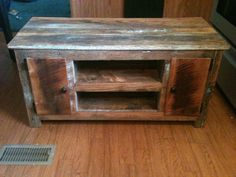 Barn wood tv stand. Made from reclaimed barn wood. Media stand. $525.00, via Etsy.