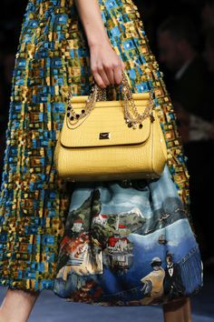 Dolce & Gabbana Spring 2016 Ready-to-Wear Details- The textured skirt with the skate print bag makes for a wonderful combination.