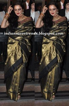 Latest Traditional and Designer Sarees: Rekha in Black and Gold Kanjeevaram Saree