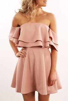 Two Fold Mini Dress Dusty Pink