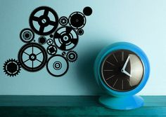 Cogwheels Clock  Decal Sticker Vinyl Wall Home by VinylWallAccents, $32.00