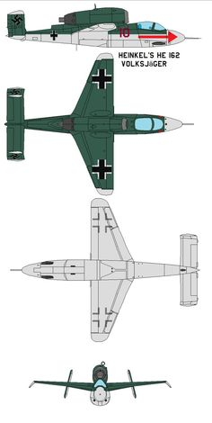 "Heinkel's He 162 Volksjäger (""People's Fighter"", named after the Volkssturm) was a German single-engine, jet-powered fighter aircraft fielded by the Luftwaffe in World War II. Design..."