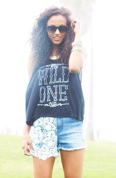 Summer style: Wild One t-shirt & lace denim shorts