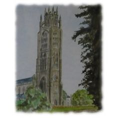 """Boston Stump, Lincolnshire a Watercolour painting • Jim's Art Gallery- The formal name of the Boston Stump is Saint Botolph's Parochial Church of Boston and is noted for being one of the largest parish churches in England.  The nickname, """"The Stump"""" or """"Boston Stump"""", is often used affectionately as a reference to the whole church building and it is believed it was built on the site of a monastery founded by Botolph in 654."""