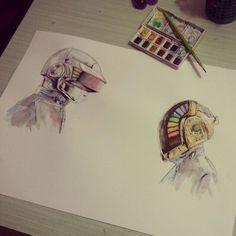#Watercolor #Daft Punk