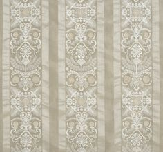 """""""Taormina"""" Motifs embroidered on a subtle striped fabric taken from a Directoire-inspired floral pattern. 2 colors."""