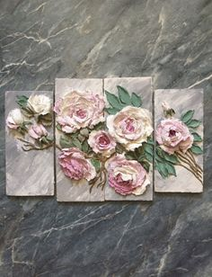 Altered Canvas Wall Art Using Plaster Dipped Silk Flowers