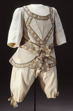 Boy's suit, Russia, c. 1779. Cotton, cream silk ribbon with metal thread embroidery, linen lining.