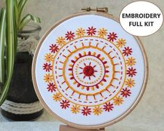 Hand Embroidery Kits, Jewellery, Gifts & Home Decor! by TheEmbroideryCart Diy Embroidery Kit, Hand Embroidery Videos, Learn Embroidery, Embroidery For Beginners, Hand Embroidery Patterns, Floral Embroidery, Embroidery Designs, Art Mural Floral, Kit Diy
