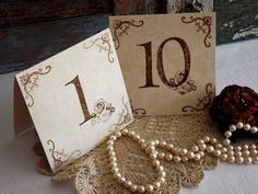 Table Numbers or Place setting cards