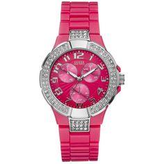 GUESS Watch, Womens Pink Polycarbonate Bracelet U11622L6 ($115) found on Polyvore