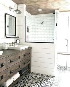 Looking for for pictures for farmhouse bathroom? Browse around this website for amazing farmhouse bathroom images. This specific farmhouse bathroom ideas looks absolutely wonderful. Rustic Bathroom Designs, Modern Bathroom, Rustic Bathroom Shower, White Bathroom, Boho Bathroom, Teen Boy Bathroom, Small Spa Bathroom, Cottage Bathroom Design Ideas, Rustic Bathroom Wall Decor