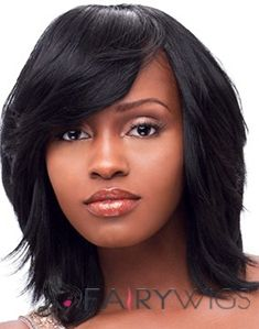 The Fresh Medium Straight Black Full Bang African American Wigs for Women 14 Inch