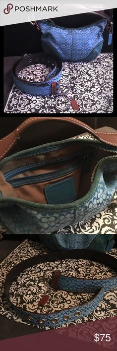 """Small belt and small hobo bag Small turquoise blue hobo bag with matching belt.  This coach bag has leather and suede trimmings.  The belt is leather lined.  The toilet tissue in the last pic is to show how small the bag really is. The belt will fit a 24""""-26""""waist.  Bag and belt must be sold together. Signature Coach Bags Hobos"""