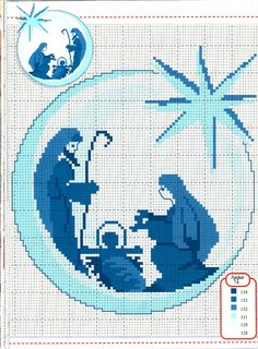 Nativity Scene in Cross Stitch Mehr Cross Stitch Christmas Ornaments, Xmas Cross Stitch, Christmas Embroidery, Christmas Cross, Cross Stitch Charts, Cross Stitch Designs, Cross Stitching, Cross Stitch Embroidery, Embroidery Patterns