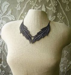 gray lace necklace // MUSE // feather necklace / by whiteowl
